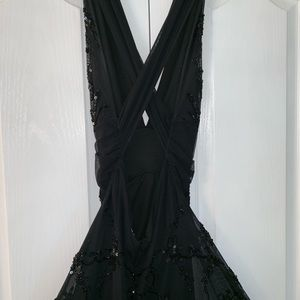 CACHE Black Formal Sequined Dress